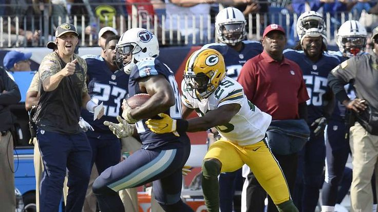 Packers vs. Titans:  47-25, Titans  -  November 13, 2016  -       Tennessee Titans tight end Delanie Walker gets away from Green Bay Packers defensive back Kentrell Brice as Walker scores a touchdown on a 10-yard pass play in the first half of an NFL game Sunday, Nov. 13, 2016, in Nashville, Tenn.