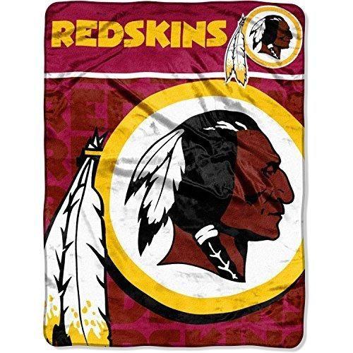 NFL Redskins Throw Blanket 46 X 60 Football Themed Bedding Sports Patterned Team Logo Fan Merchandise Athletic Team Spirit Fan White Gold Maroon Raschel