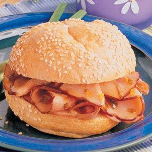 Hot Ham Sandwiches in the crock. It soaks in  apple juice and relish  to make it sweet. So easy!