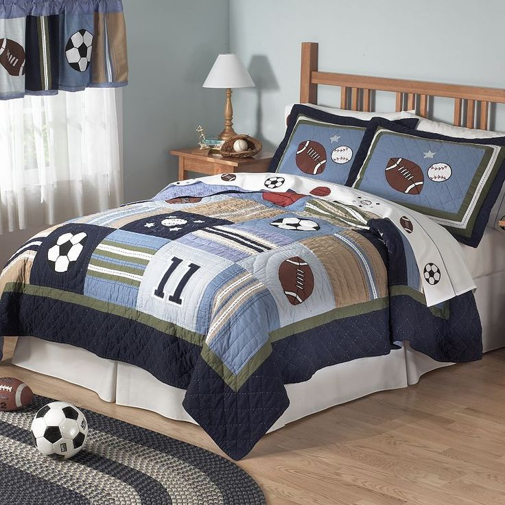 Best Sports Theme Bedroom Images On Pinterest Boy Rooms - Boys sports bedding sets twin