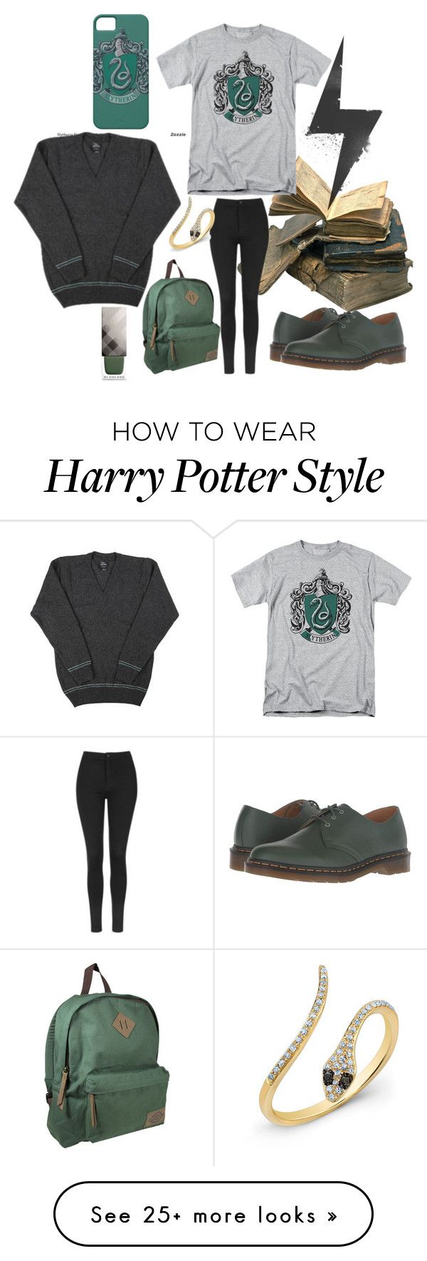 """""""Slytherin"""" by chantal-07 on Polyvore featuring Topshop, Anne Sisteron, Dr. Martens, Dickies, Burberry, harrypotter, potterhead, slytherin, hogwarts and GREEN"""