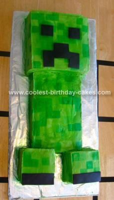 Homemade Minecraft Creeper Cake: My daughter is a huge fan of the computer game called Minecraft, so for her ninth birthday we threw her a Minecraft themed party. Even though in the game