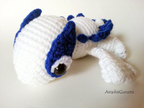 Lazy Chibi Lugia, Crochet Amigurumi Pokemon Plush