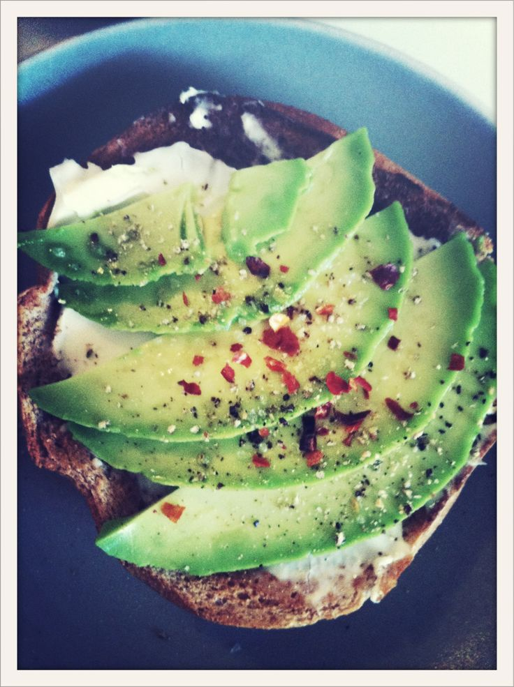 Bagel, Cream Cheese, Avacado and Crushed Red Pepper - Love it, such a simple breakfast
