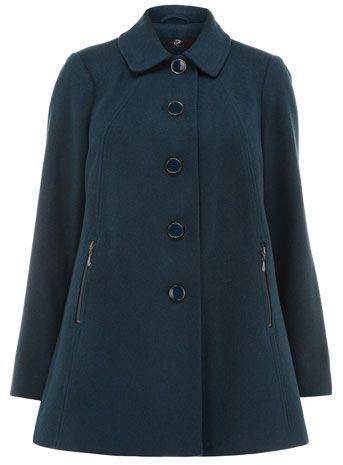 Evans Petrol Blue Peter Pan Plus Size Coat - Outerwear  - Clothing