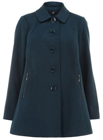 Evans Petrol Blue Peter Pan Plus Size Coat - Outerwear  - Clothing