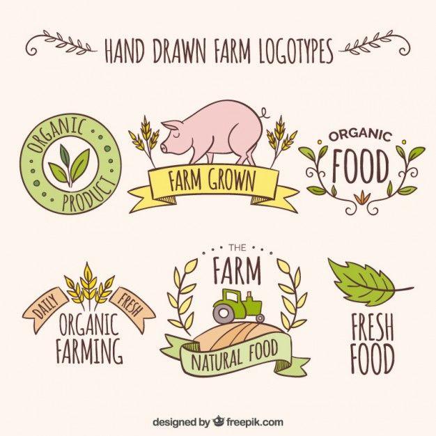 Bocetos de logos de granja con productos frescos Vector Gratis