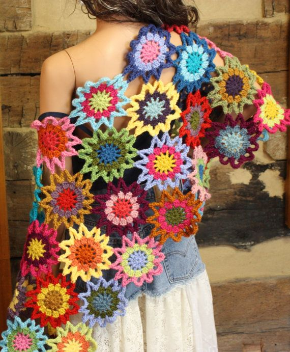 Crochet Wrap Shawl Boho Chic Hippie Patchwork Shawl Rainbow Flowers Wrap Womens Bohemian Clothing Custom Made to Order