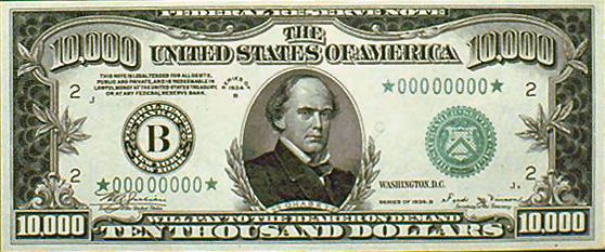 $10,000! Salmon P Chase's portrait appears on the obverse of the giant bill. When the Treasury started issuing the bills in 1928, it chose to honor Chase for his crucial role in helping to popularize modern banknotes. #MCM #ManCrushMonday #history #currency #banknote #dollars #cash