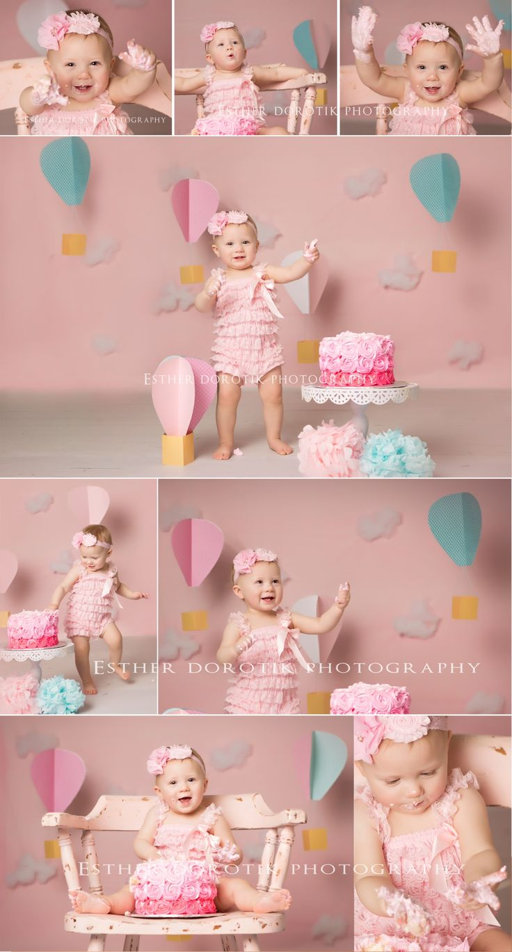 Oh the places you'll go cake smash, hot air balloon pictures, baby photography, one year old pictures, baby girl photography, pink, teal, white