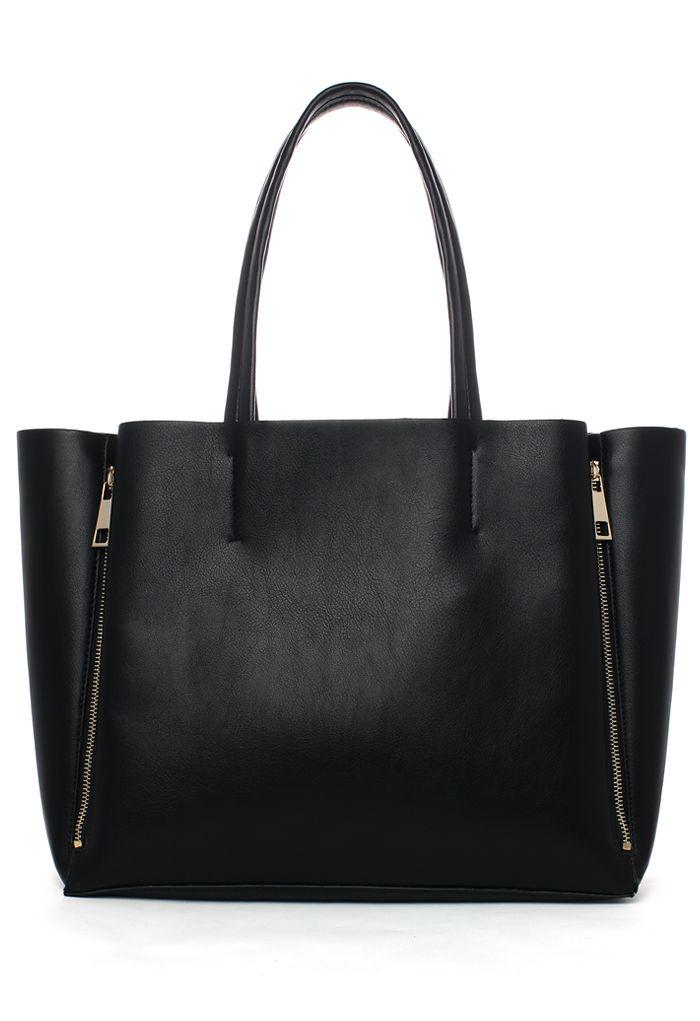 Side Zippers Tote Bag in Black
