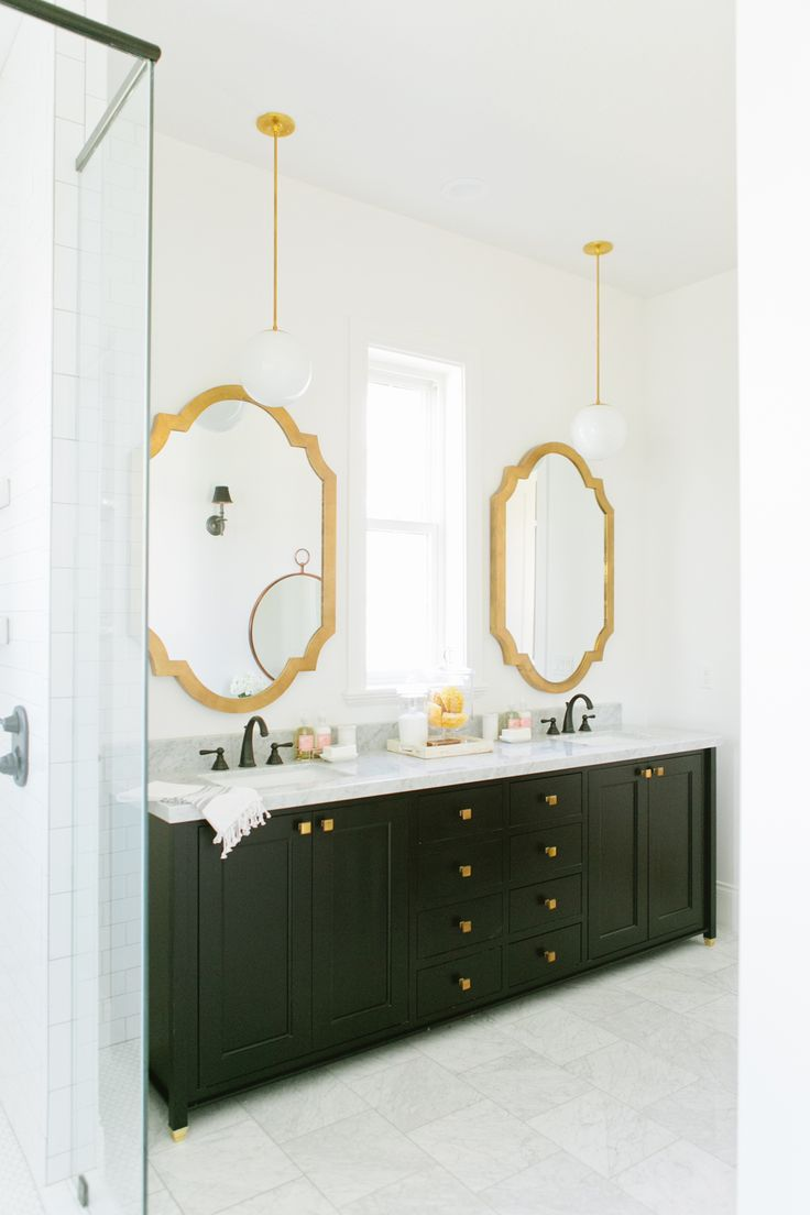 Hollywood hills master bathroom design project the design - Black Bathroom Vanity With Gold Mirror Contemporary Bathroom Sherwin Williams Snowbound Brass Mirrors Black Bathroom Vanity Design