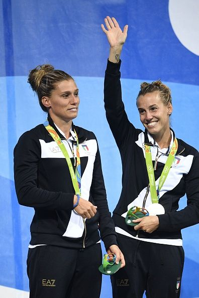 Silver medallists Italy's Tania Cagnotto and Francesca Dallape pose during the…