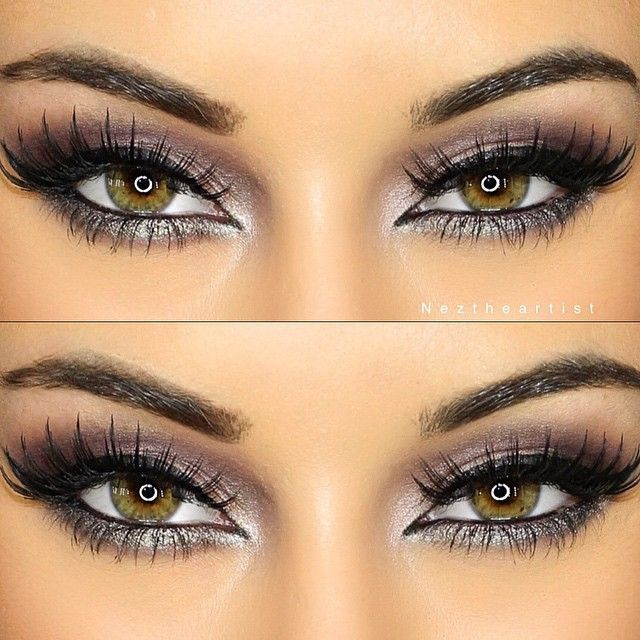 Silver & purple glam makeup - Cat eyeliner