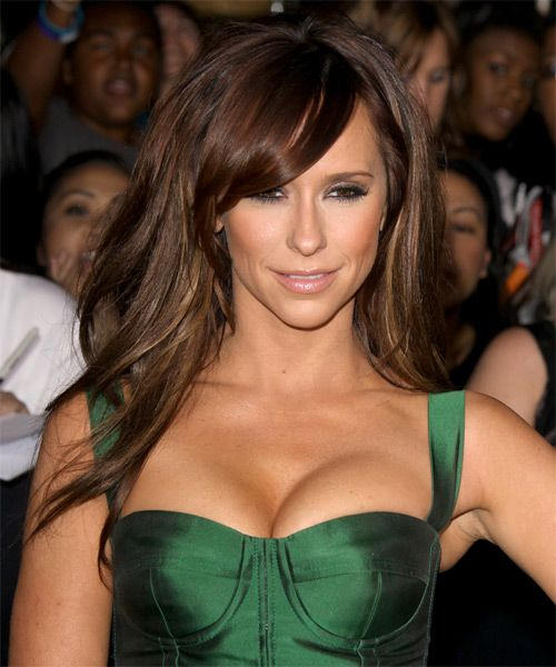 Jennifer Love Hewitt Long Straight Chocolate Brunette Hairstyle with Side Swept Bangs