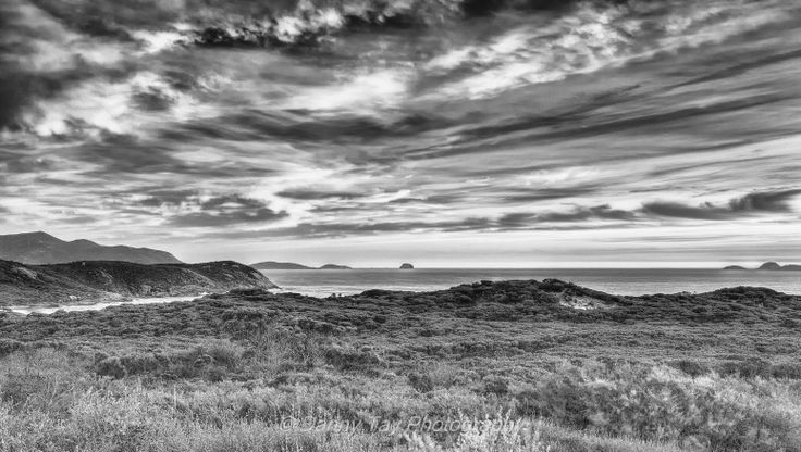 Sunset over Glennie Lookout (B&W) in Wilsons Promontory, Victoria, Australia.