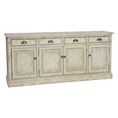 Features:  -1 Center shelf and 2 side shelves.  -Removable shelves.  -Double roller cabinet catch.  -Windsor collection.  -Fully assembled.  -Functional drawer: Yes .  Product Type: -Sideboard.  Hardw