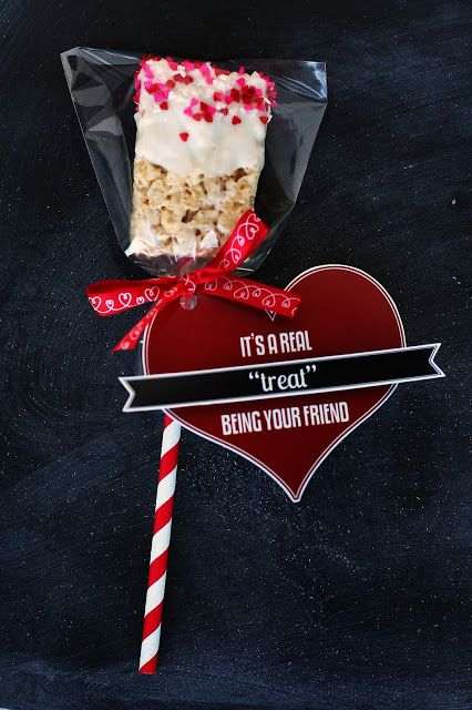 It's a Real Treat Being Your Friend! The cutest Valentine. Chocolate dipped Rice Krispies Treats.