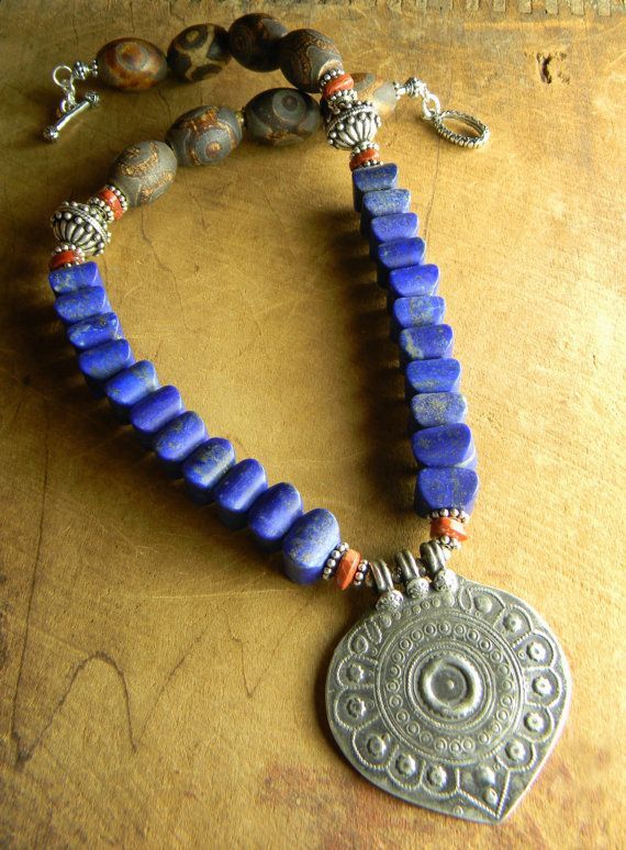 Lapis Lazuli Necklace Blue Indian Sterling Silver by ChrysalisToo