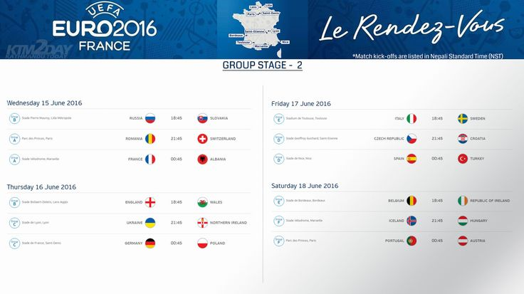 UEFA Euro 2016 Schedule in Nepali Standard Time | ktm2day.com