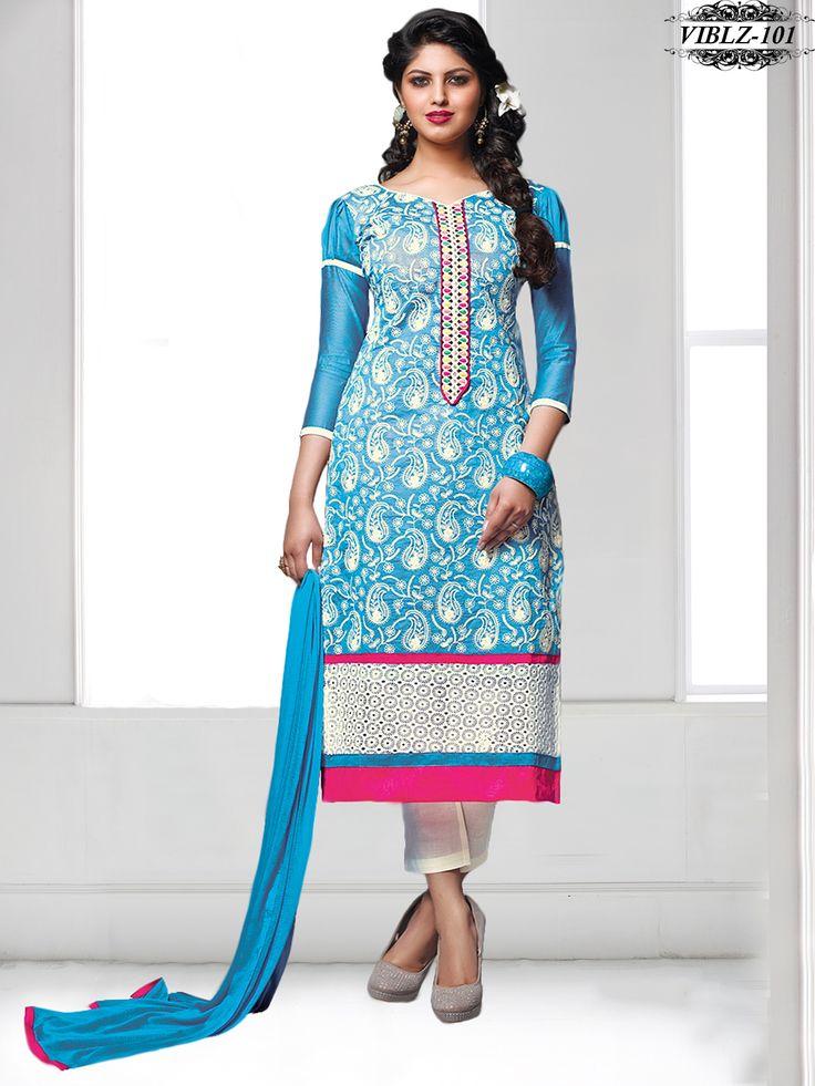 Shonaya Blue Colour Chanderi Cotton Embroidery Dress material