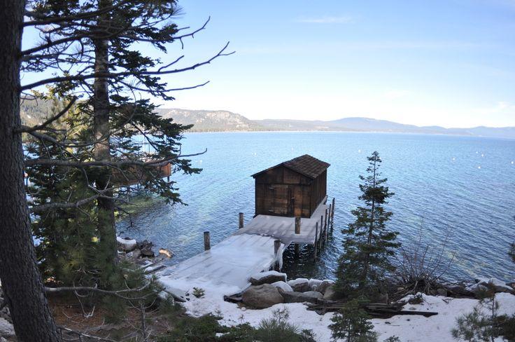 Boathouse on Lake Tahoe, California, USA.
