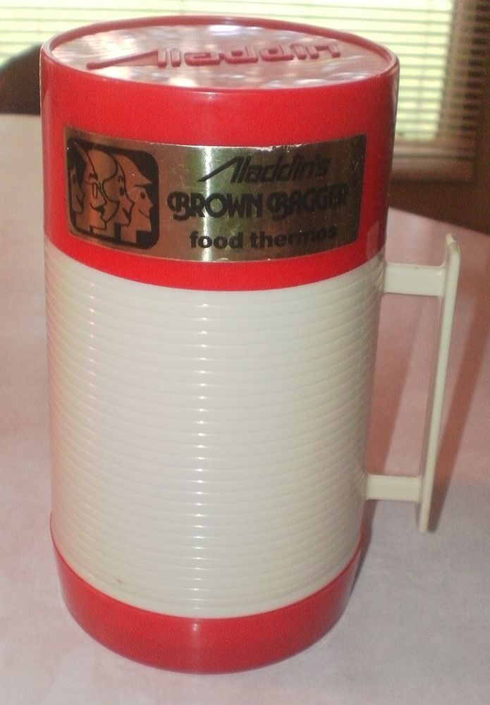Vintage Aladdin Thermos Bottle Hy-Lo Brown Bagger Pint Cup 240 & Stopper 44 #Aladdin