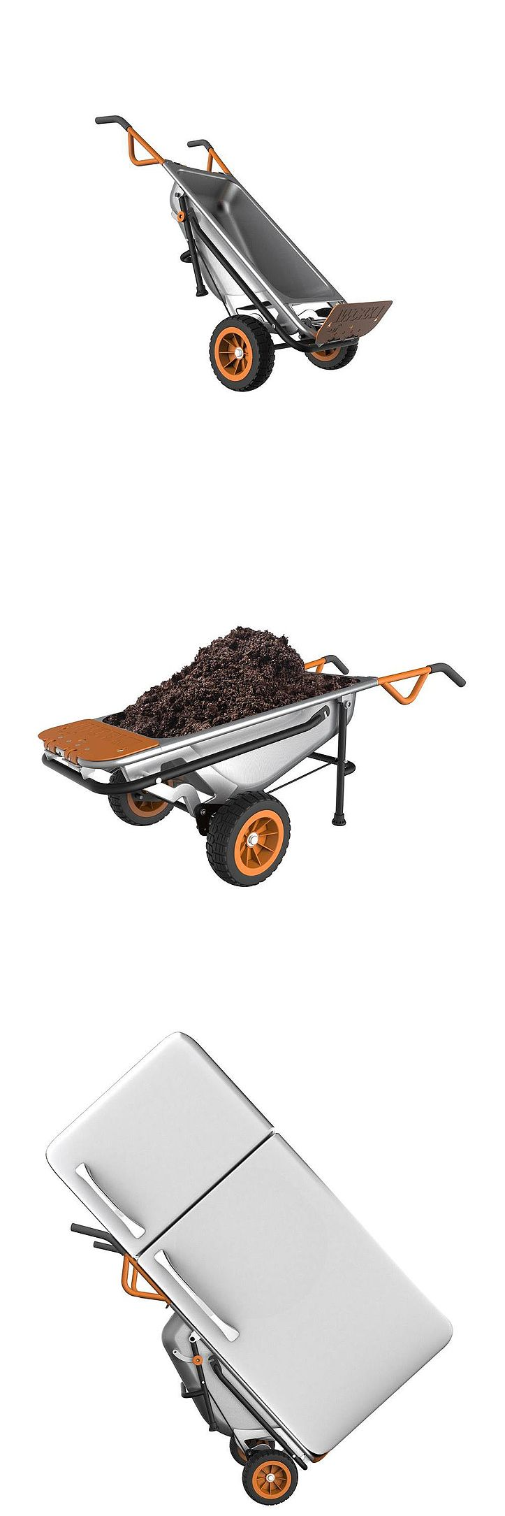 The Worx AeroCart is the most innovative cart around. It has the ability to convert instantly from a wheelbarrow to a dolly and much more. It makes yard work, moving, or carrying bulky objects easier. The patented design adjusts center of gravity for a balanced and easy-to-manage load.
