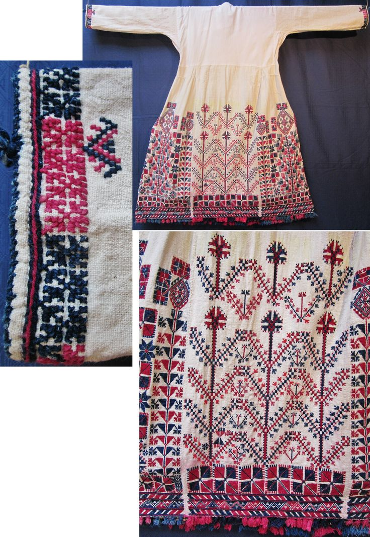 Rear (+ close-ups) of a traditional bridal/festive 'göynek' (underdress) from the Türkmen village of Durabeyler, near Dursunbey (80 km east of Balıkesir), ca. 1925-1950.  Hand woven cotton; the bottom is half lavishly adorned with cotton embroidery (squares, diamonds, crosses, stylized flowers & tree-of-life motifs). The lower edge features small cotton tassels. (Inv.n° gnk039 - Kavak Costume Collection-Antwerpen/Belgium).