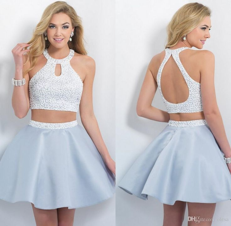 Wholesale Beautiful 2015 Sexy Homecoming Dresses Halter Open Back Sweet Sixteen Dress Short Two Pieces Prom Dress With Beads Stain Party Gown Olesa, Free shipping, $93.46/Piece   DHgate Mobile
