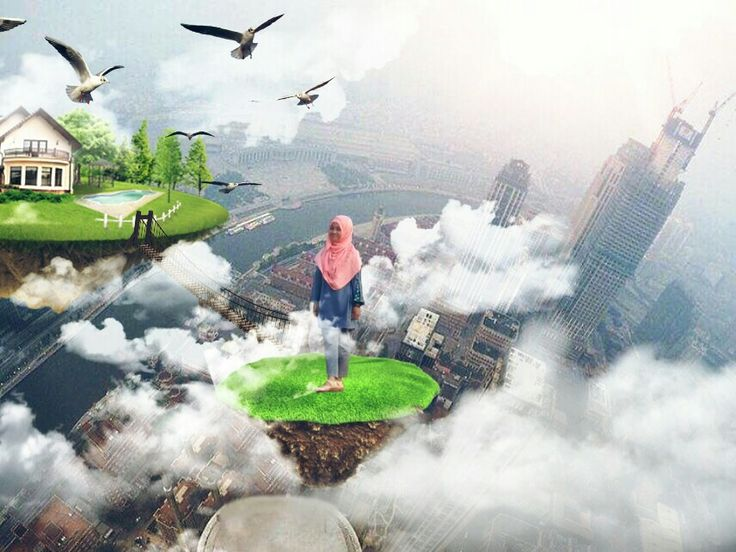 Flying island with Picsart