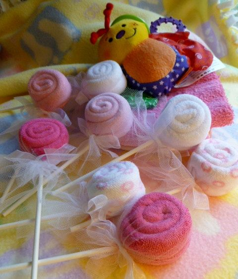 Washcloth Lollipop Bundle of 10... Baby Shower Favors...Infant Washcloths...Girl, Boy or Neutral...Party Favors...One Free :)