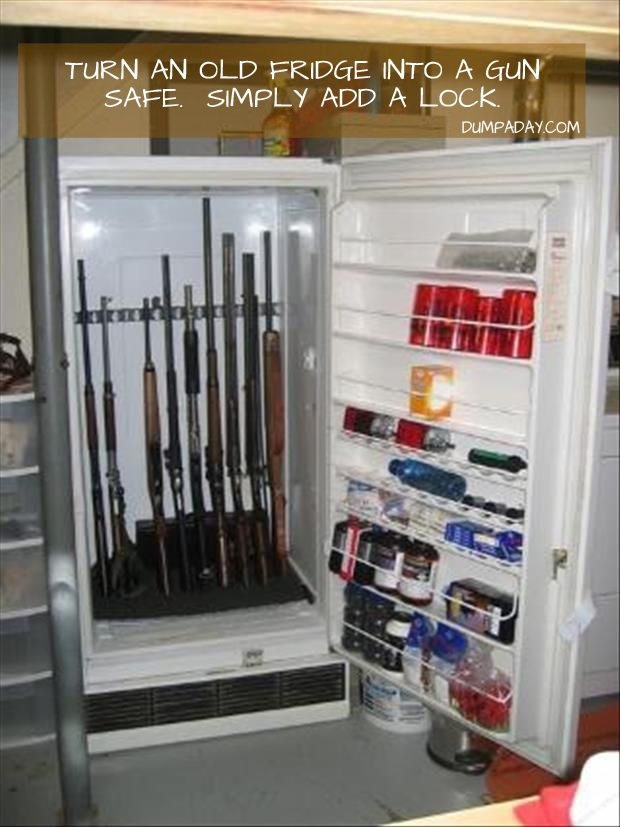 turn an old fridge into a gun safe, just add a lock *no one would check here