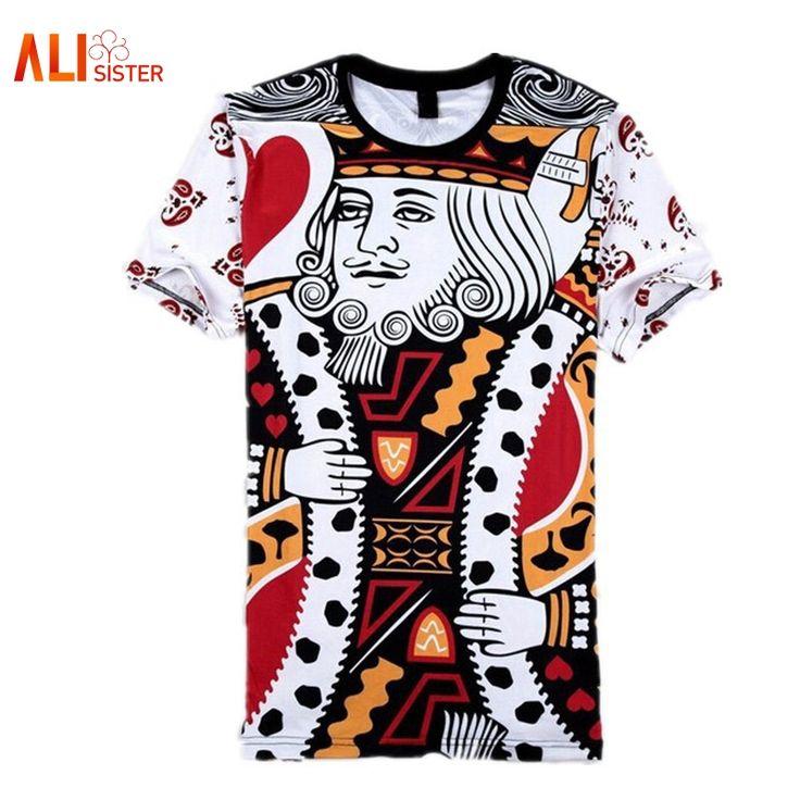 Summer Style Hip Hop T Shirt Men/women Playing Cards Print 3d T Shirt Harajuku Clothes Camisa Masculina Size King Poker Shirt