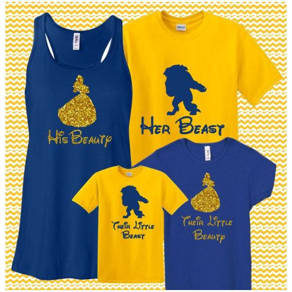 Glitter Couples Set Beauty and Beast Bella Tank Shirt Disney World... ❤ liked on Polyvore featuring tops, disney tank top, racer back shirt, disney shirts, racerback tank and blue shirt