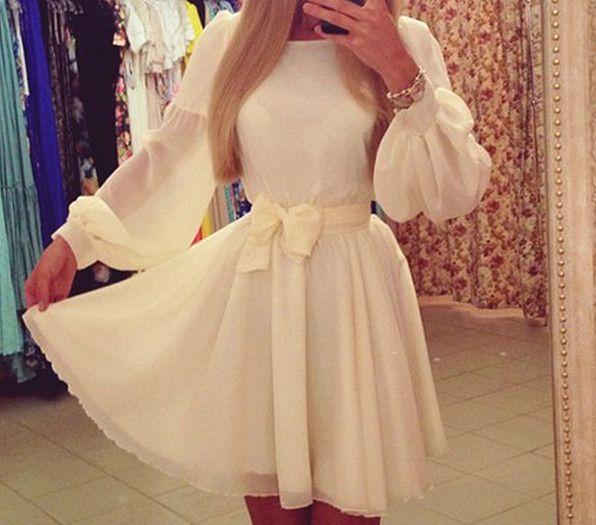 2016 nieuwe vrouwen jurk solid casual geplooide lange mouw lantaarn mouw dames jurken hot koop in     Noot:1. als u niet ontvangt uw aankoop in de tijd, neem dan contact met ons op, zullen we ui van jurken op AliExpress.com | Alibaba Groep