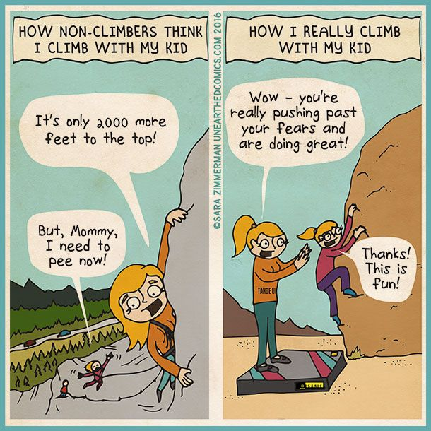 rock climbing and bouldering with children, comics about climbing