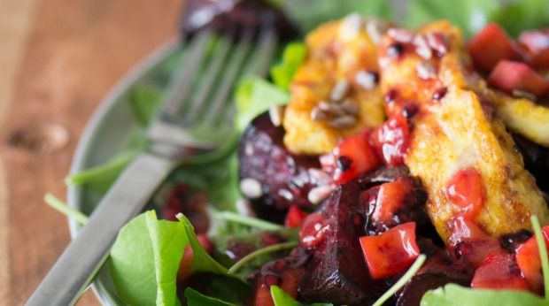 Beetroot, rocket and haloumi salad - Recipes - Stuff.co.nz