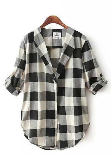 Black White Grids Lapel Long Sleeves Blouse