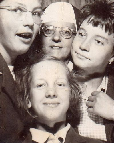 +~ Vintage Photo Booth Picture ~+  Nun in a photo booth