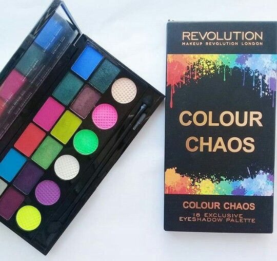 My makeup Revolution Palette in colour chaos. Its a disappointing palette.  Lot of fall out & not very pigmentend & its very chalky like  Pictures belong to  stylewithmepretty  Follow @stylewithmepretty on instagram   twitter :@stylepretty2