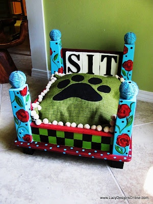 """Lucy Designs: Dog Bed from an End Table - Blue Floral """"Sit"""": Dogs Beds, Floral Sit, Paintings Dogs, Doggies Beds, Pet Beds, Lucy Design, End Tables, Paw Prints, Blue Floral"""