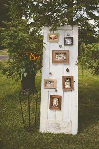 Love this display! Old doors painted to match your colors are awesome for decor. We did four or five for kats wedding and they were gorgeous!