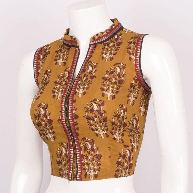 Hand Block Printed Cotton Blouse With Zari Edging, Collar Neck & Sleeveless 10013131 - Size 36 - profile - AVISHYA.COM