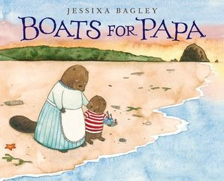 Without realizing it, you will acquire certain habits similar to their habits.  You will do what you know they would have enjoyed; little things or larger things.  Although they are gone, the connection is still strong.  Boats For Papa (A Neal Porter Book, Roaring Brook Press, June 30, 2015) written and illustrated by Jessixa Bagley is a story of longing and the purest form of love, unconditional.