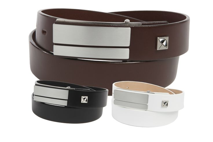 Leather Strap Belt with Frosted Nickel Finish, Split Plaque Buckle featuring the Arnie™ Umbrella Logo on the Strap - $65.00 - Arnie™ Belts