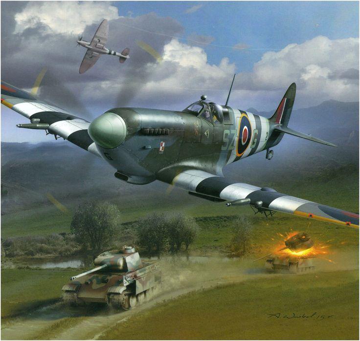 Supermarine Spitfire LF.IX NH342 «SZ + G», del as polaco Cpt. Aleksander Klemens Gabszewicz, del 316. Escuadrón de la RAF (polaco) destruye un Panther en las costas de Normandia, junio de 1944. Arkadiuz Wróbel.  http://www.elgrancapitan.org/foro/viewtopic.php?f=52&t=17924&p=904708#p904325