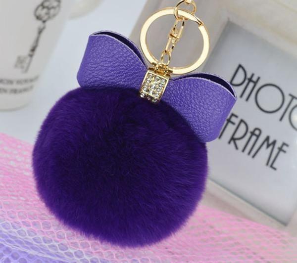 Bowknot Fur Pom Keychain Real Rex Rabbit Fur Ball Key Chains Bag Pendant New