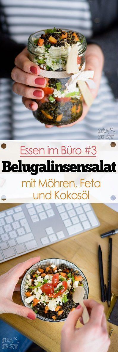 Belugalinsensalat mit Möhren, Feta und Kokosöl