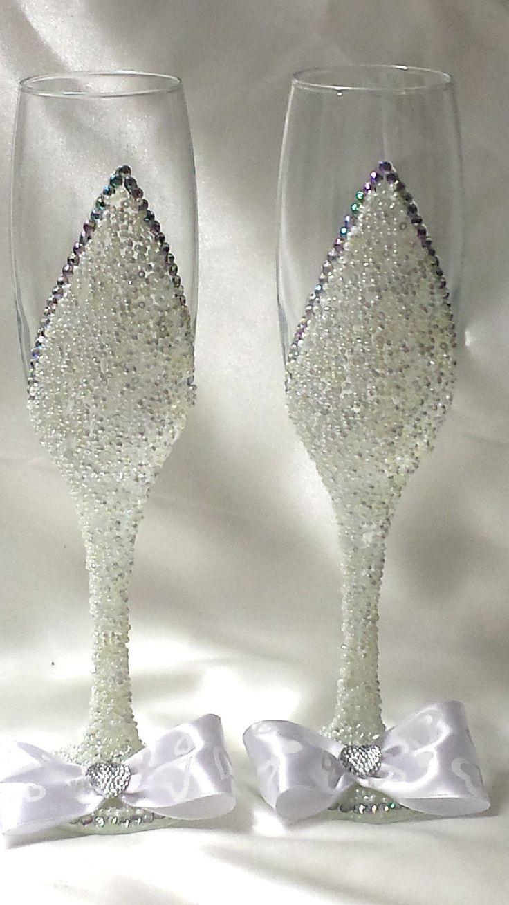 Weiß Hochzeitsgläser Sektgläser Hochzeit Hochzeitsgeschenk Handarbeit Nr. 10 | eBay